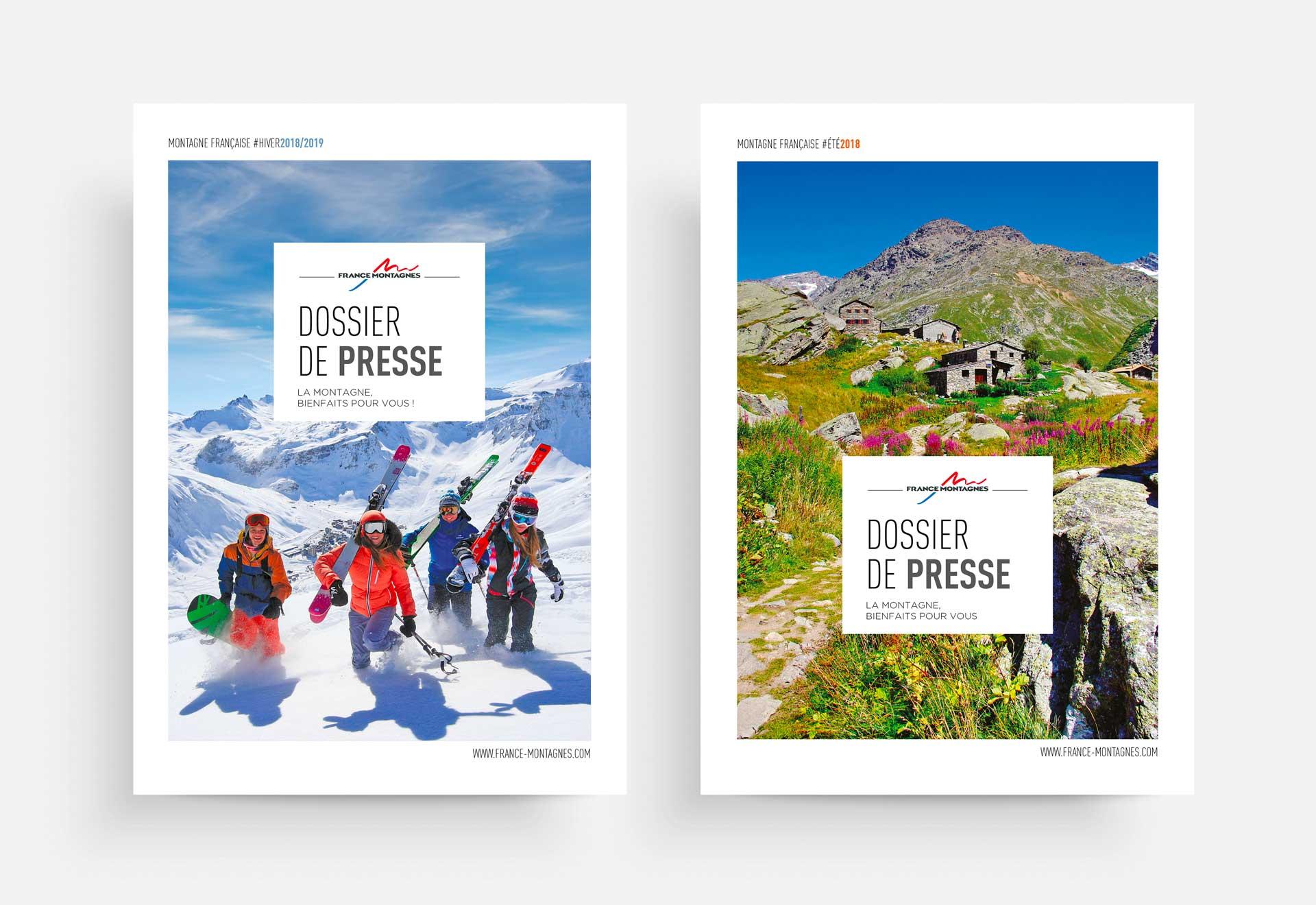Couverture de dossier de presse touristique destination montagne