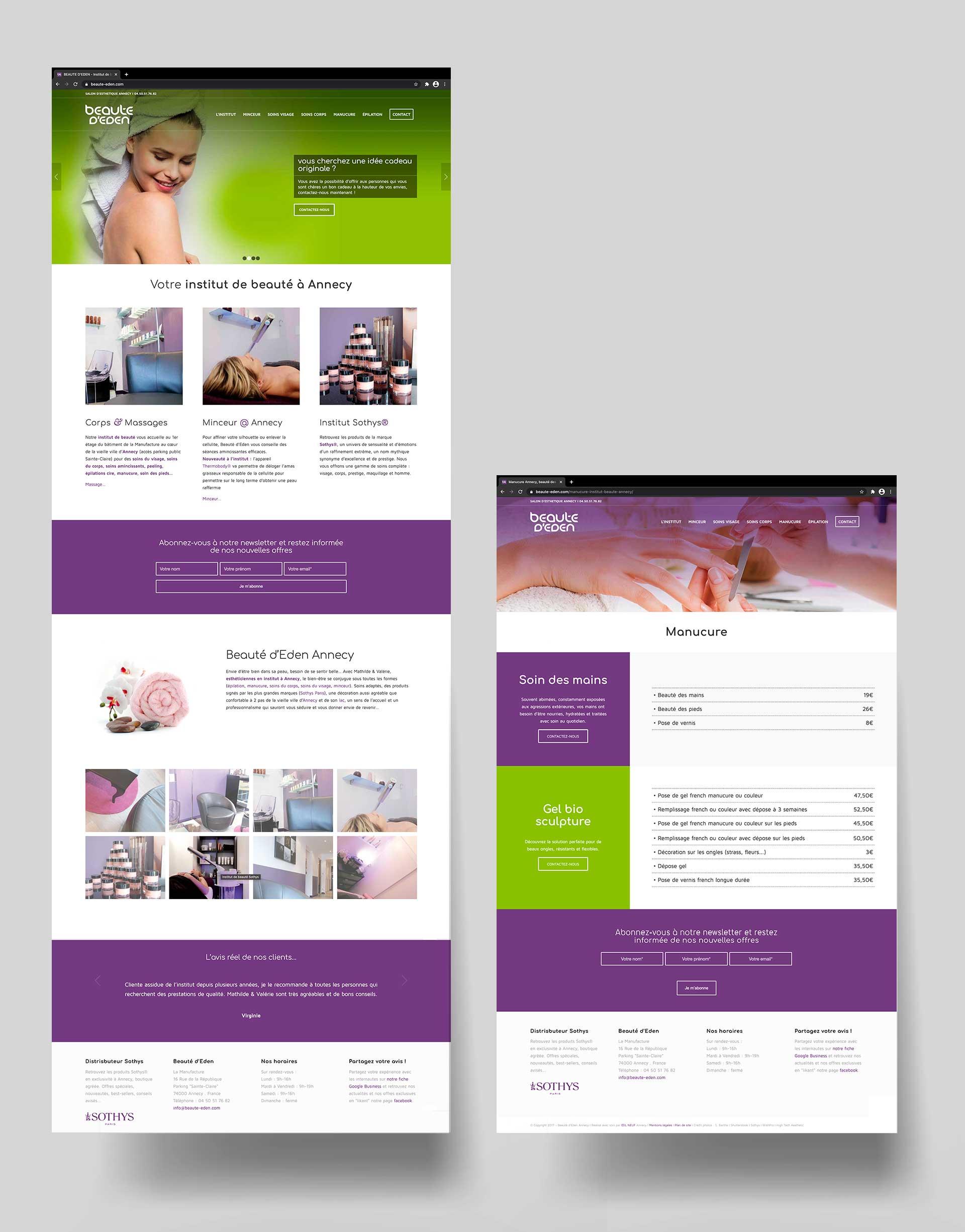 Création d'un site internet pour une institut de beauté à Annecy