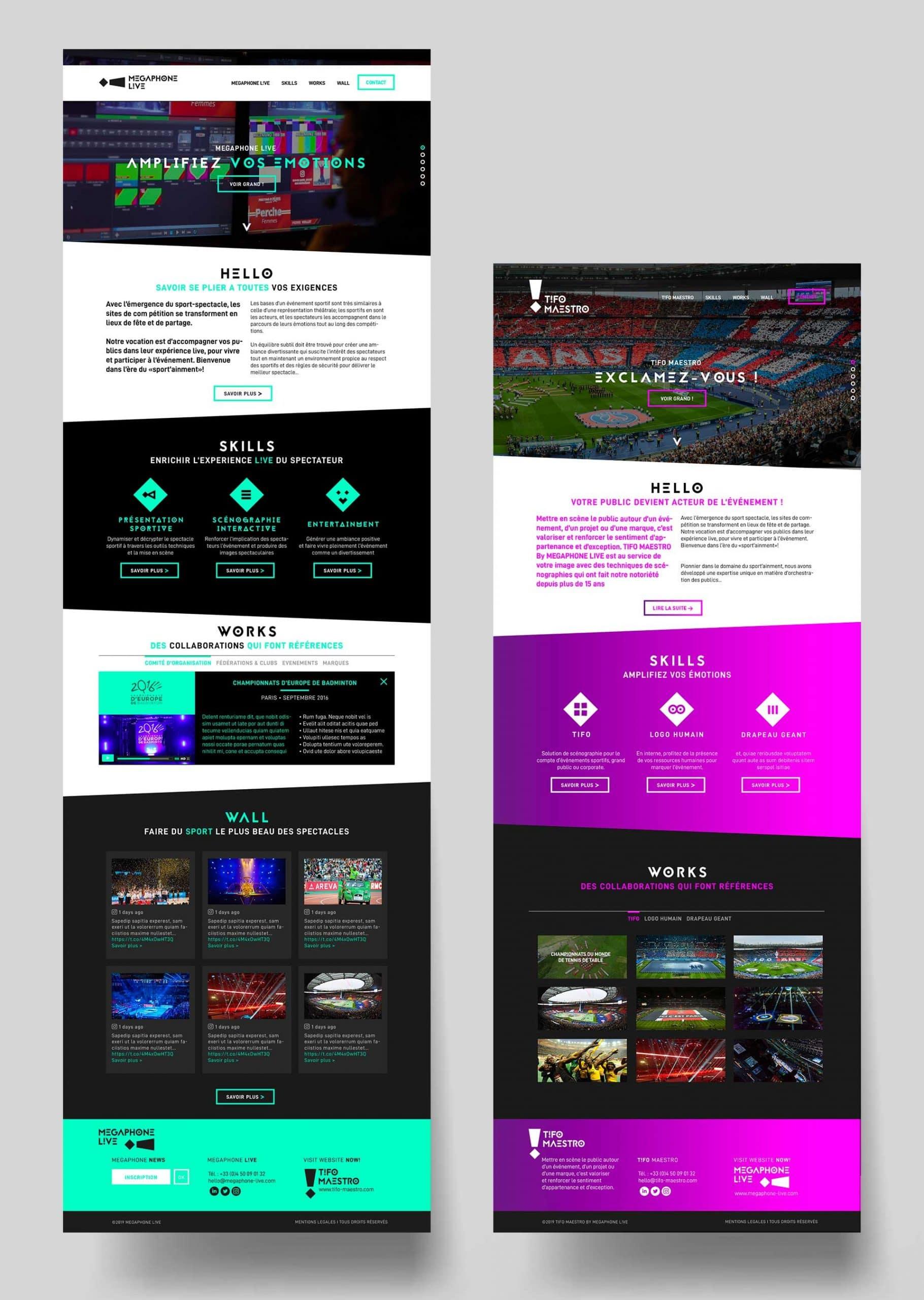 Megaphone Live, création webdesign événementiel