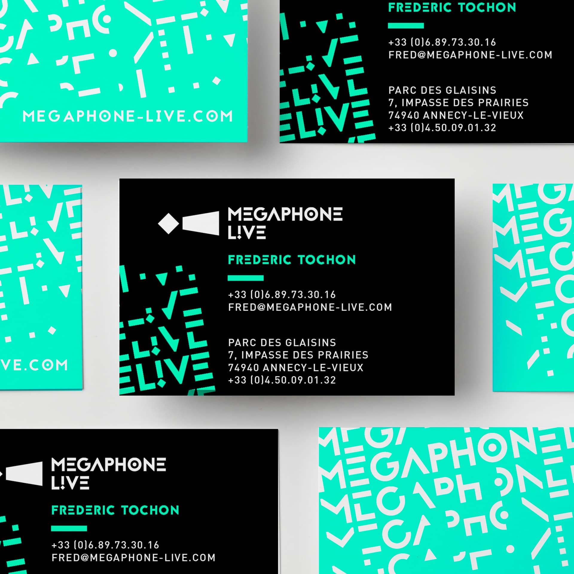 Megaphone Live, création de cartes de visite